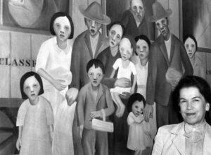Tarsila do Amaral con su obra 2ª Clase, 1961